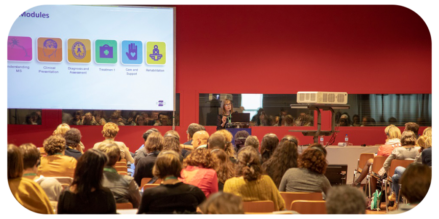 On April 16th 2019, the MS Nurse PROfessional accredited e-learning training curriculum was officially launched in France at the Jnfl - Journées de Neurologie de Langue Française - annual neurological conference, attended by over 3,000 healthcare professionals in Lille.Dr Olivier Heinzleif, leading neurologist and President of French MS Society, Catherine Mouzawak, MS Nurse Champion in France and member of MS Nurse Pro Steering Committee, and Anne Winslow, former EMSP President & current Chair of the MS Nurse Pro Steering Committee had the honour to mark the launch of the MS Nurse Pro to an audience of French nurses and healthcare professionals.