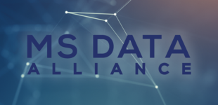 MS Data Alliance on blue background with dots and lines