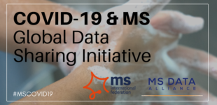 Hands with soap being washed with text on top saying: COVID-19 and MS Global Data Sharing initiative plus logos of MSIF and MS Data Alliance