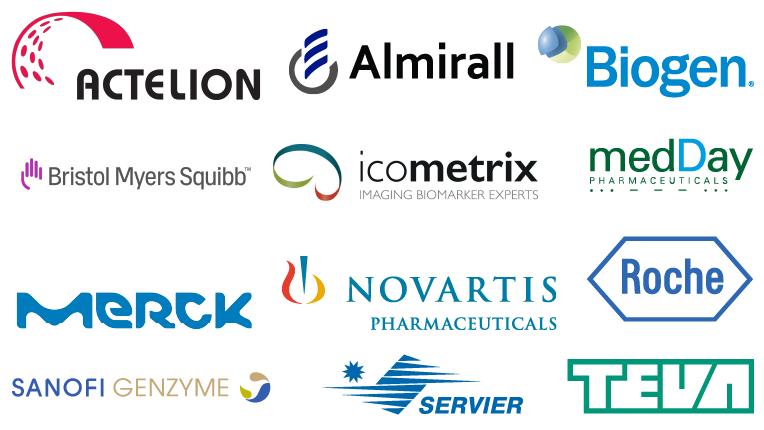2018 EMSP Industry Partners' Logos: Actelion, Almirall, Biogen, Bristol-Myers-Squibb, Icometrix, Medday, Merck, Novartis, Roche, Sanofi-Genzyme, Servier, TEVA