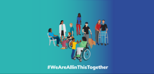 People living with MS with different levels of disabilities and of different racial and ethnic background. Text says hashtag We are all in this together.