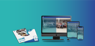 EMSP Annual Report 2019 magazine and multi-device mockup on blue gradient background
