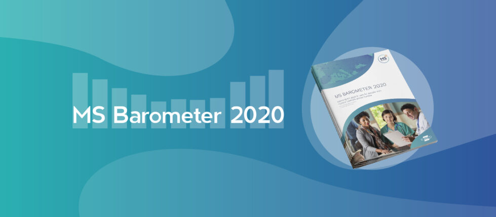 MS Barometer 2020 Banner with the Report on top of blue background